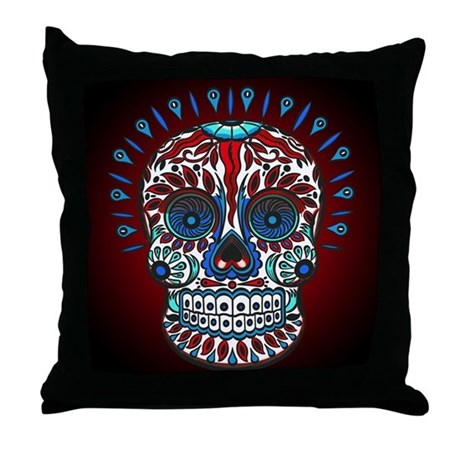 Decorative Mexican Skull Throw Pillow