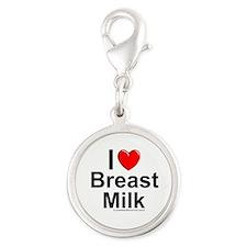 Breast Milk Silver Round Charm