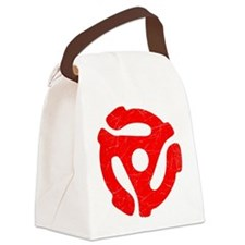 Red Distressed 45 RPM Adapter Canvas Lunch Bag