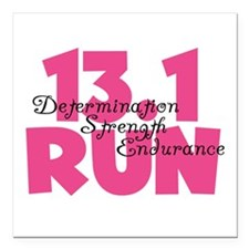 "13.1 Run Pink Square Car Magnet 3"" x 3"""