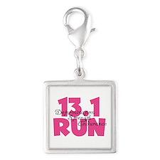 13.1 Run Pink Silver Square Charm