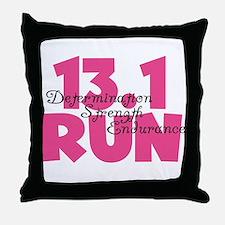 13.1 Run Pink Throw Pillow