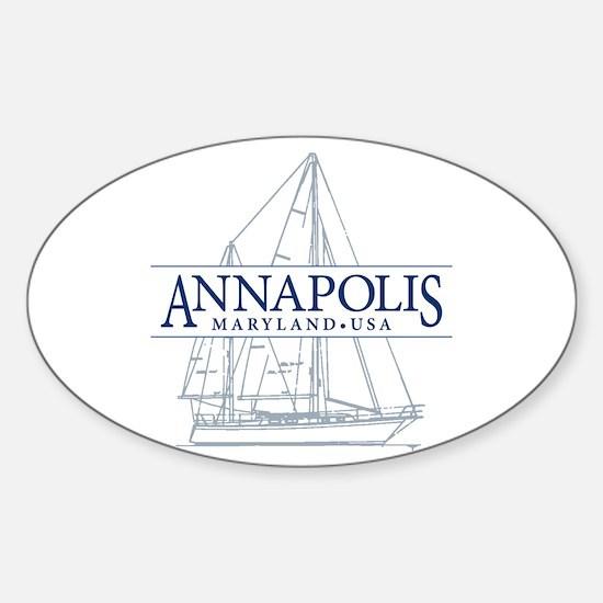 Annapolis Sailboat - Sticker (Oval)