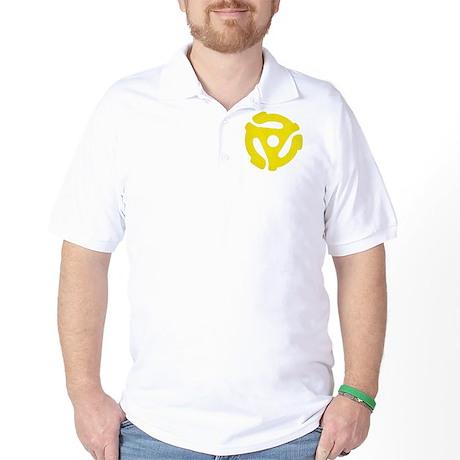Yellow Distressed 45 RPM Adapter Golf Shirt