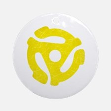 Yellow Distressed 45 RPM Adapter Round Ornament