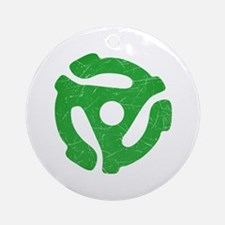 Green Distressed 45 RPM Adapter Round Ornament