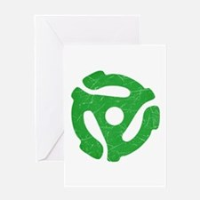 Green Distressed 45 RPM Adapter Greeting Card