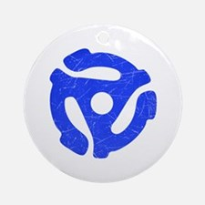 Blue Distressed 45 RPM Adapter Round Ornament