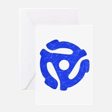 Blue Distressed 45 RPM Adapter Greeting Card