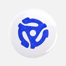 """Blue Distressed 45 RPM Adapter 3.5"""" Button"""