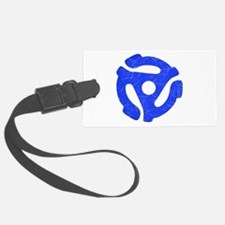 Blue Distressed 45 RPM Adapter Luggage Tag