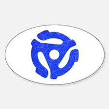 Blue Distressed 45 RPM Adapter Oval Decal