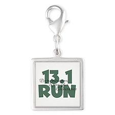 13.1 Run Teal Green Silver Square Charm