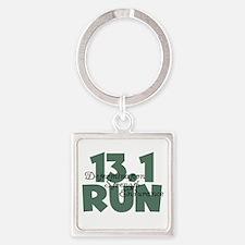 13.1 Run Teal Green Square Keychain