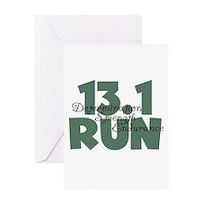 13.1 Run Teal Green Greeting Card