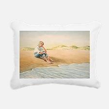 Woman on the Beach Rectangular Canvas Pillow