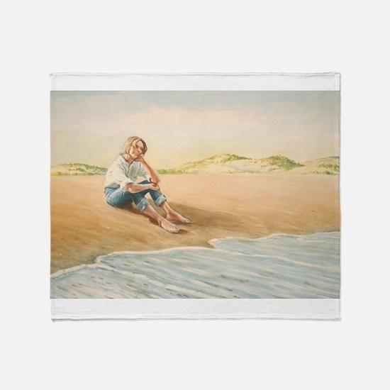 Woman on the Beach Throw Blanket