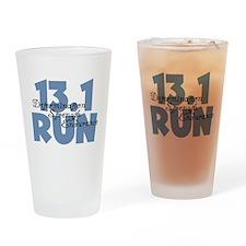 13.1 Run Blue Drinking Glass