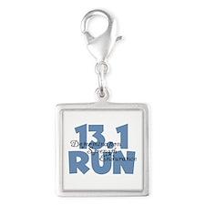 13.1 Run Blue Silver Square Charm