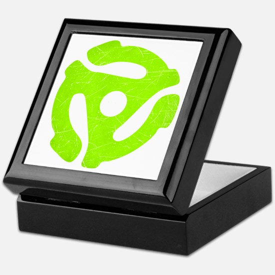 Lime Green Distressed 45 RPM Adapter Keepsake Box