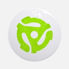 Lime Green Distressed 45 RPM Adapter Round Ornamen
