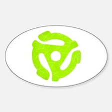 Lime Green Distressed 45 RPM Adapter Oval Decal