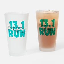 13.1 Run Aqua Drinking Glass