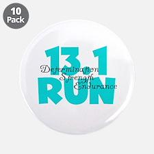 """13.1 Run Aqua 3.5"""" Button (10 pack)"""