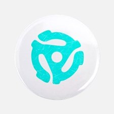 """Turquoise Distressed 45 RPM Adapter 3.5"""" Button"""