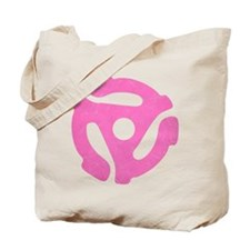Hot Pink Distressed 45 RPM Adapter Tote Bag