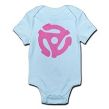 Hot Pink Distressed 45 RPM Adapter Infant Bodysuit