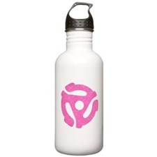 Hot Pink Distressed 45 RPM Adapter Water Bottle