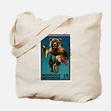 1973 Mongolia Bear Riding Wheel Postage Stamp Tote