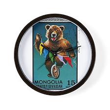 1973 Mongolia Bear Riding Wheel Postage Stamp Wall