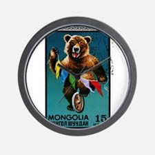 1973 Mongolia Bear Riding Wheel Postage Stamp Wall