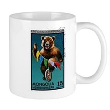 1973 Mongolia Bear Riding Wheel Postage Stamp Mug