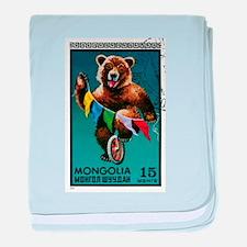 1973 Mongolia Bear Riding Wheel Postage Stamp baby