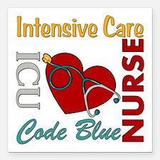 "ICU Nurse Square Car Magnet 3"" x 3"""