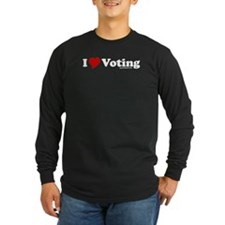 I Love Voting Long Sleeve Black T-Shirt