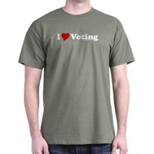 I Love Voting Military Green T-Shirt
