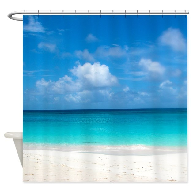 Tropical Beach View Anguilla Shower Curtain By Fashionstinks