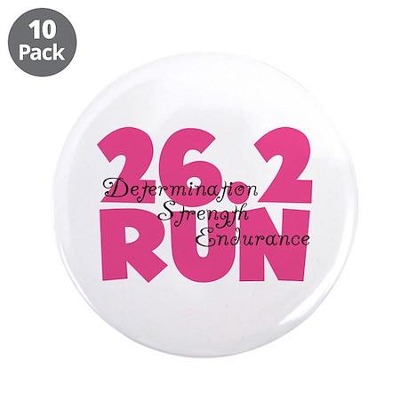 """26.2 Run Pink 3.5"""" Button (10 pack)"""