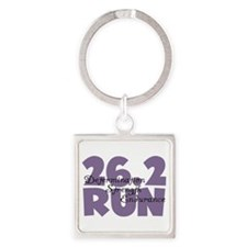 26.2 Run Purple Square Keychain