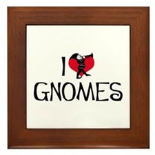 I Love Gnomes Framed Tile