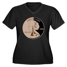 First Lady C Women's Plus Size Dark V-Neck T-Shirt