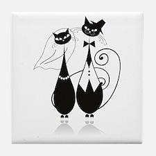 Wedding Cats Tile Coaster