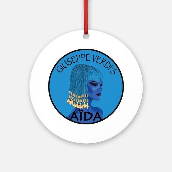 Blue Aida Round Ornament