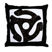 Black Distressed 45 RPM Adapter Throw Pillow