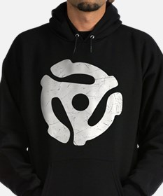White Distressed 45 RPM Adapter Dark Hoodie