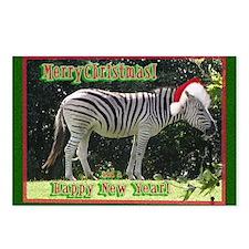 Helaine's Zebra Christmas Postcards (Package of 8)
